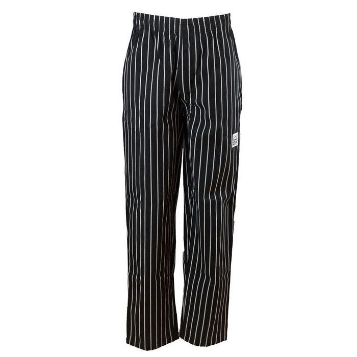 Chef Revival P040WS-XL Poly-Cotton Chef Pants, X-Large, Black/White Pin-stripe