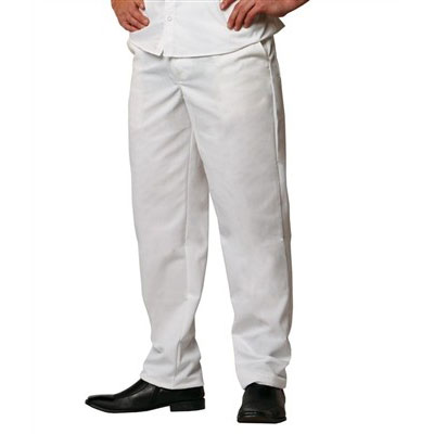 Chef Revival P201CPZ-34 Cook Pants w/ Elastic Waist - Poly/Cotton, White, Size 34