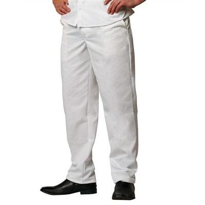 Chef Revival P201CPZ-36 Cook Pants w/ Elastic Waist - Poly/Cotton, White, Size 36