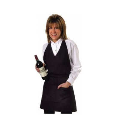 "Chef Revival VNA3840-BK Blended Twill Tuxedo V-Neck Apron, 30 x 40"", Pockets, Black"