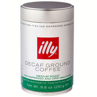 illy 00493 8.8-oz Fine Grind Decaffeinated Espresso Coffee