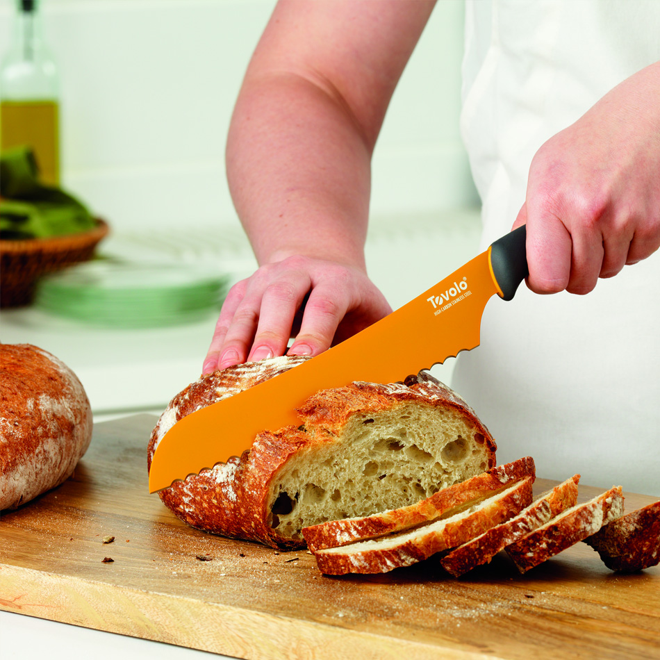 "Tovolo 81-10901 8.5"" Bread Knife - Ergonomic Handle, Blade Cover, BPA Free"