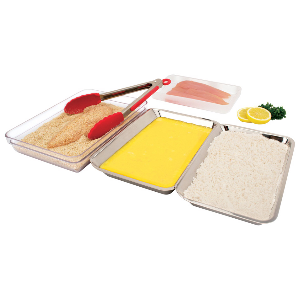 Tovolo 81-6867 Food Prep Tray Kit w/ (2) Stainless Trays, (1) Base Tray & (1) Lid, Stackable, BPA Free