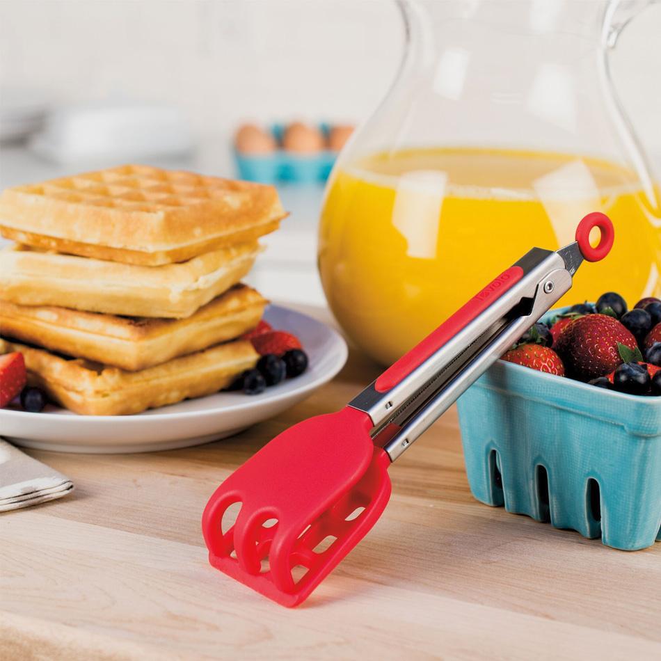 "Tovolo 81-9257 8.5"" Mini Waffle Tongs - BPA Free, Candy Apple Red"