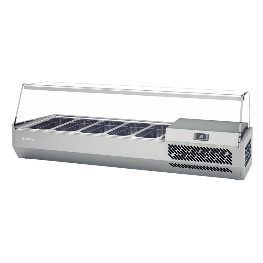 """Infrico ICT-VIP1490GLASS 58.75"""" Refrigerated Countertop Dispenser Station w/ (4) Third & (1) Half-Size Pans, 115v"""