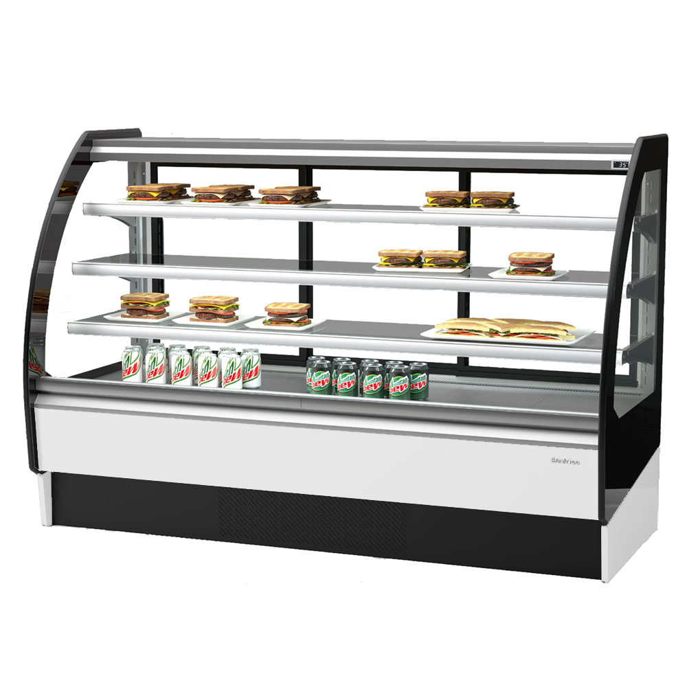 "Infrico IDC-VBR18R 75.38"" Full-Service Bakery Case w/ Curved Glass - (4) Levels, 115v"