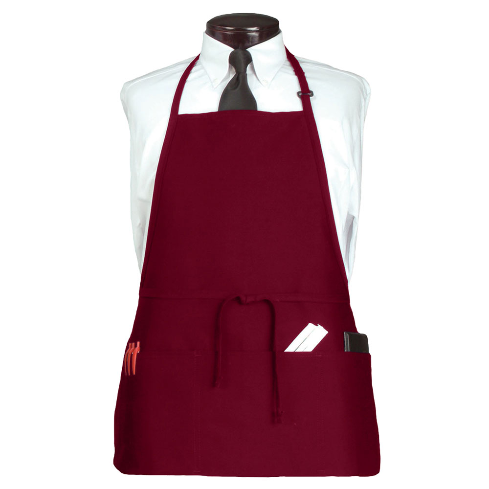 "Ritz CL3PBIABGFP-1 3-Pocket Bib Apron w/ Adjustable Neckstrap - 26"" x 23"", Polyester, Burgundy"