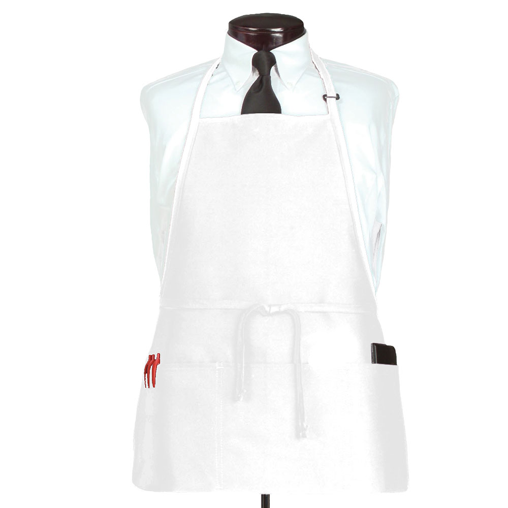 "Ritz CL3PBIAWHFP-1 3-Pocket Bib Apron w/ Adjustable Neckstrap - 26"" x 23"", Polyester, White"