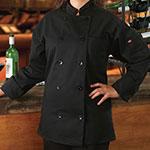 Ritz RZCOATBK1X Chef's Coat w/ Long Sleeves - Poly/Cotton, Black, XL