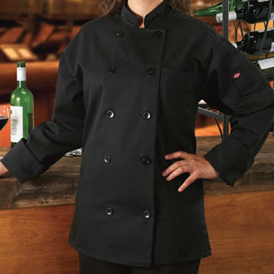 Ritz RZCOATBK2X Chef's Coat w/ Long Sleeves - Poly/Cotton...