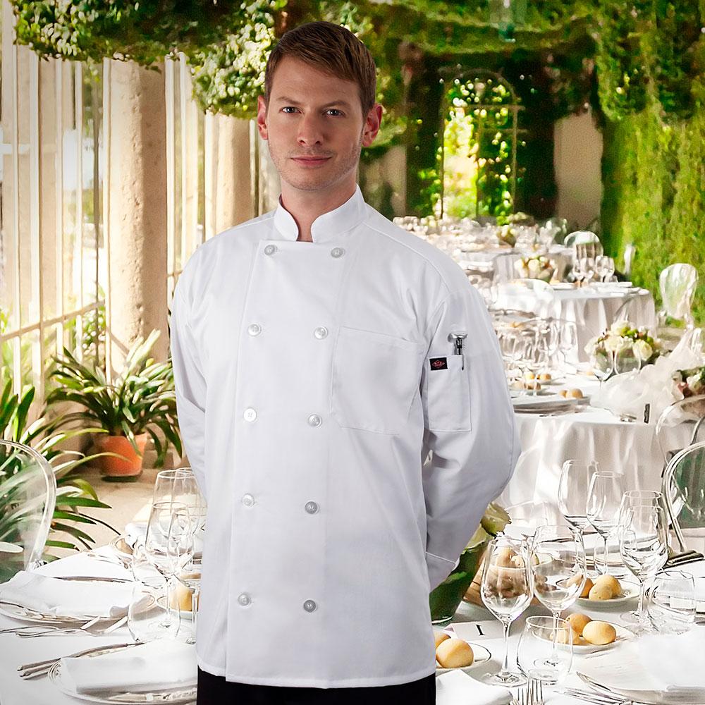 Ritz RZCOATWHM Chef's Coat w/ Long Sleeves - Poly/Cotton, White, Medium