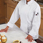 Ritz RZEC8LG Chef's Coat w/ Long Sleeves - Poly/Cotton, White, Large