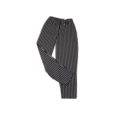 Ritz RZFS-PANTLG Chef's Pants w/ Elastic Waist - Poly/Cotton, Black/White Striped, Large