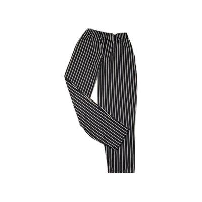 Ritz RZFS-PANTSM Chef's Pants w/ Elastic Waist - Poly/Cotton, Black/White Striped, Small