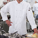 Ritz RZKBWHSM Chef's Coat w/ Long Sleeves - Poly/Cotton, White, Small