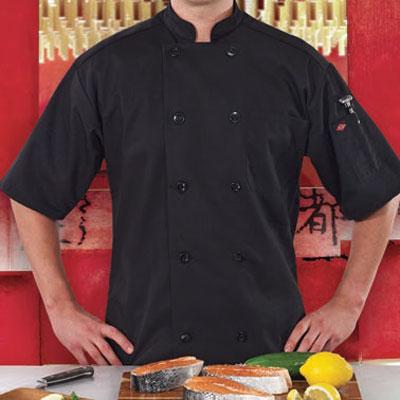 Ritz RZSSBKLG Chef's Coat w/ Short Sleeves - Poly/Cotton, Black, Large