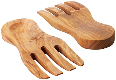 Berard BER01091 Curved Salad Servers - Handcrafted, French Olive Wood