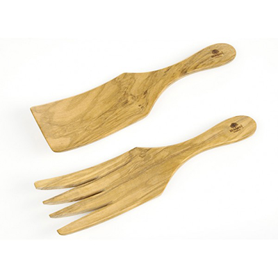 Berard BER05472 Olive Wood Sauerkraut Spaghetti Server Set