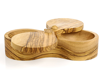 Berard BER90062 Double Salt Keeper - Olive Wood