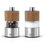 "Adhoc 78MP33 2.5"" Mini Salt and Pepper Mill - Acacia Wood and Stainless"