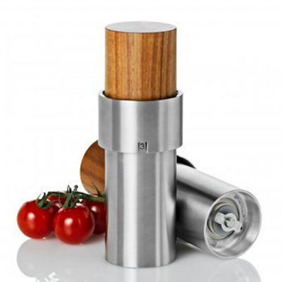 "Adhoc 78MP44 6"" Salt or Pepper Mill, iVAN, Acacia Wood and Stainless"