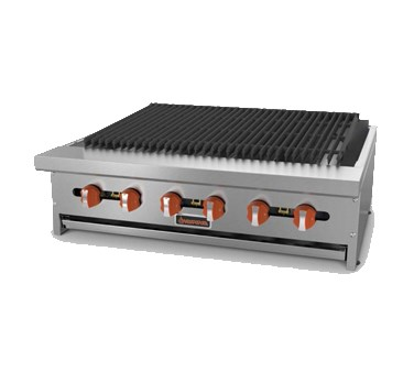 "Sierra Range SRCB-36 36"" Charbroiler w/ Cast Iron Grates, 6 Burners, NG"