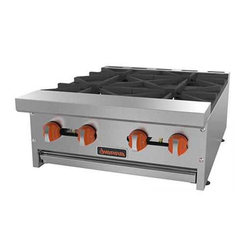 "Sierra Range SRHP-4-24 24"" Gas Hotplate w/ (4) Burners & Manual Controls"