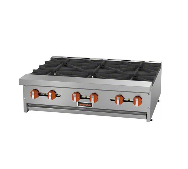 "Sierra Range SRHP-6-36 36"" Hotplate w/ 6 Open Burners, Manual Controls, NG"
