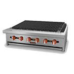 "Sierra Range SRRB-48 48"" Radiant Charbroiler, 8 Burners, Manual Controls"