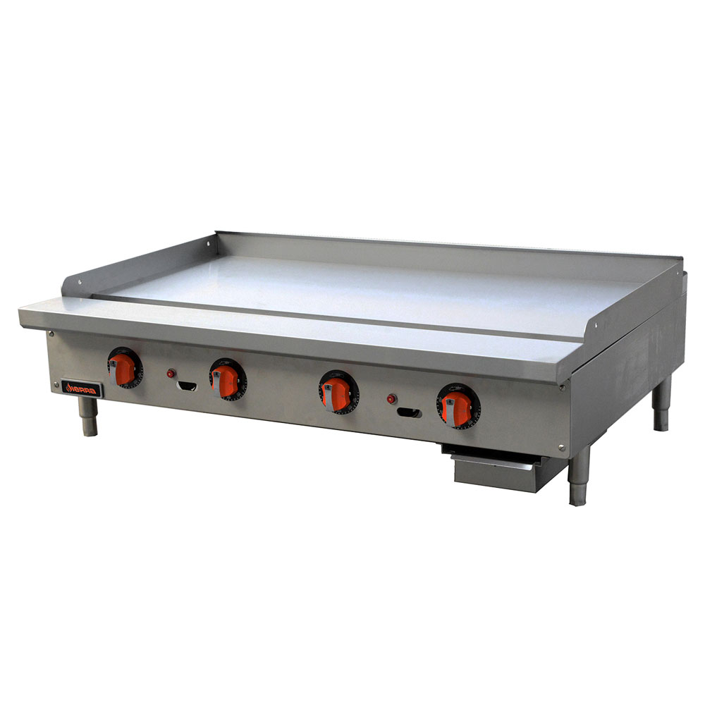 "Sierra Range SRTG-48 48"" Gas Griddle - Thermostatic, 1"" Steel Plate, NG"