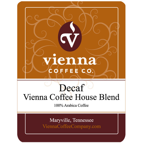 Vienna Coffee WVCHDW-12 12-oz Whole Bean Decaf Coffee, Vienna Coffee House Blend