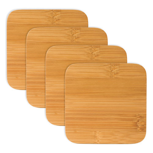 True Brands 0114 Coaster Set - Natural Bamboo