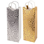 True Brands 0150 Wine Tote Bag w/ Metal Handles, Foil Embossed Flashing-Bulb Pattern, Paper