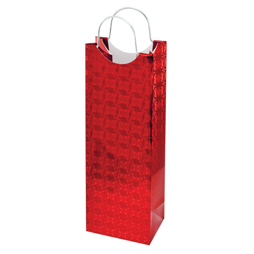 True Brands 0154 Wine Tote Bag w/ Metal Handles, Shiny Red w/ Subtle Flower Pattern, Paper