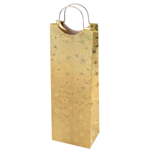 True Brands 0155 Wine Tote Bag w/ Metal Handles, Gold w/ Star & Swirl Pattern, Paper