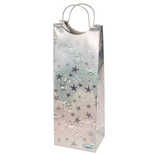True Brands 0156 Wine Tote Bag w/ Metal Handles, Silver w/ Star & Swirl Pattern, Paper