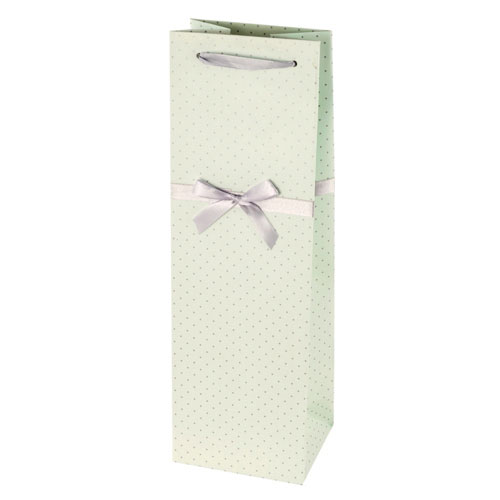 True Brands 0225 Wine Tote Bag w/ Silver Ribbon Handles, Tiffany Blue w/ Silver Polka Dots, Paper