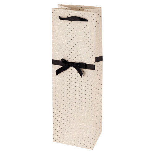 True Brands 0227 Wine Tote Bag w/ Black Ribbon Handles, White w/ Black Polka Dots, Paper