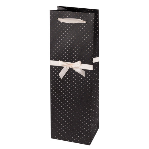 True Brands 0229 Wine Tote Bag w/ White Ribbon Handles, Black w/ White Polka Dots, Paper