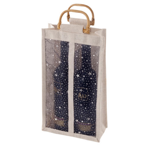 True Brands 0278 2-Bottle Wine Tote Bag w/ Bamboo Handles, Star Print w/ Vinyl Window, Jute Canvas