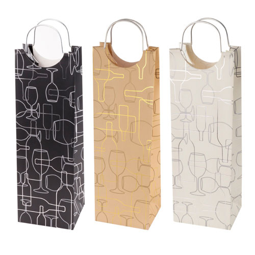 True Brands 0346 Wine Tote Bag w/ Metal Handles, Wine Bottle & Glass Silhouette Pattern, Paper