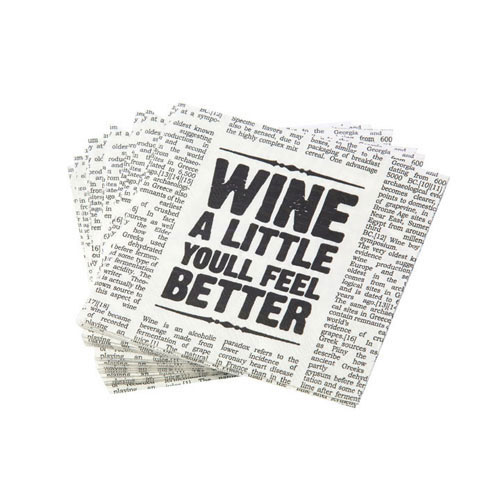 "True Brands 0462 Cocktail Napkins - ""Wine A Little You'll Feel Better"" Newspaper Design, 5"" x 5"", 3-Ply"