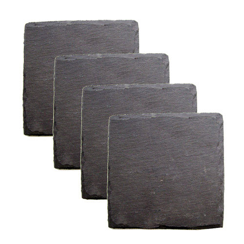 "True Brands 0581 Coaster Set - Slate Stone w/ Velvet Backing, 4"" x 4"""