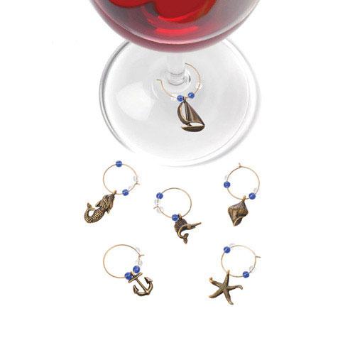 True Brands 0593 Nautical Wine Glass Charms, Burnished Bronze