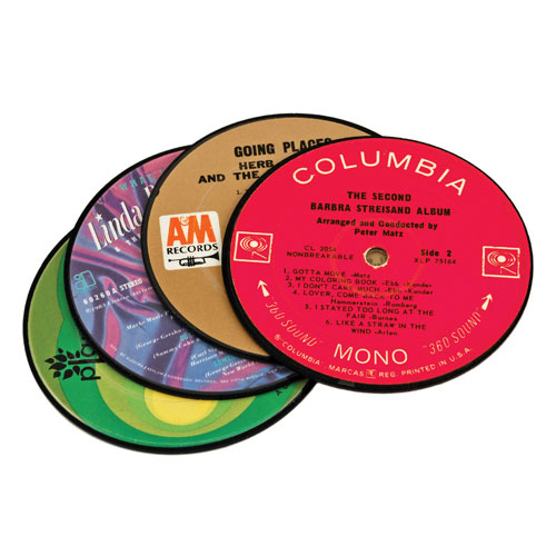 True Brands 1217 Coaster Set - Recycled Records, Laminated