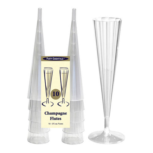 True Brands 1492 5-oz Champagne Flutes - 2-Piece Design, Plastic