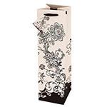 True Brands 2412 Wine Tote Bag w/ Ribbon Handles, Floral Pattern w/ Glitter Accents, Paper