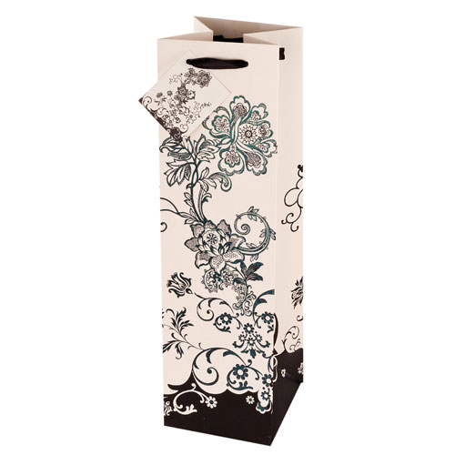 True Brands 2412 Wine Tote Bag w/ Ribbon Handles, Floral Pattern w/ Glitter Accents, Paper