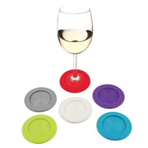 True Brands 2497 Wine Glass Coasters - Silicone
