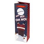 "True Brands 2852 Wine Tote Bag w/ Red Ribbon Handles, ""Ho Ho Oh No!"" Design, Paper"